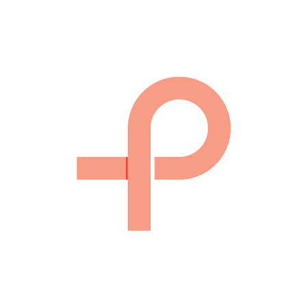 letter p overlapping line simple logo vector