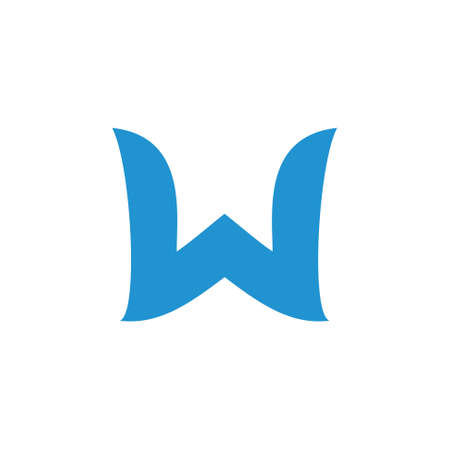 letter w simple curves logo vector