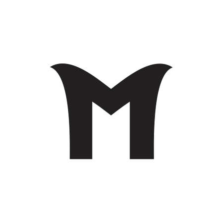 letter m simple curves logo vector