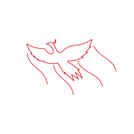 phoenix fly symbol vector linear design Ilustrace