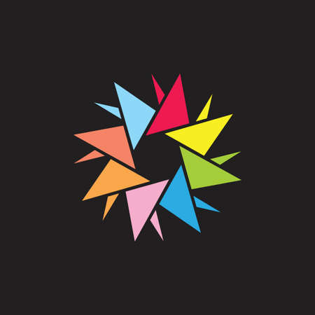 colorful paper origami kid logo concept vector