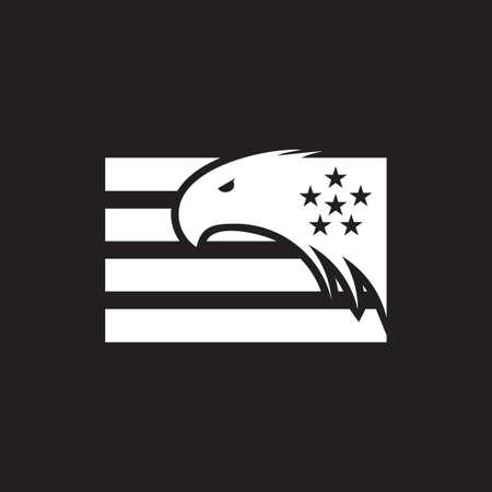hawk star stripes flag logo vector