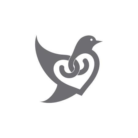 bird fly love shape loop curves decoration vector