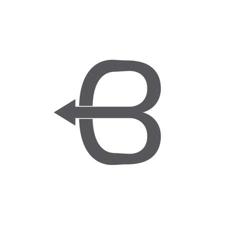 abstract letter b bow arrow overlapping logo vector