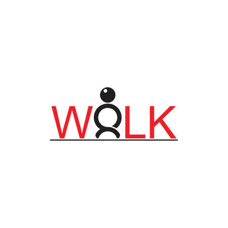 text walk people happy symbol logo vector
