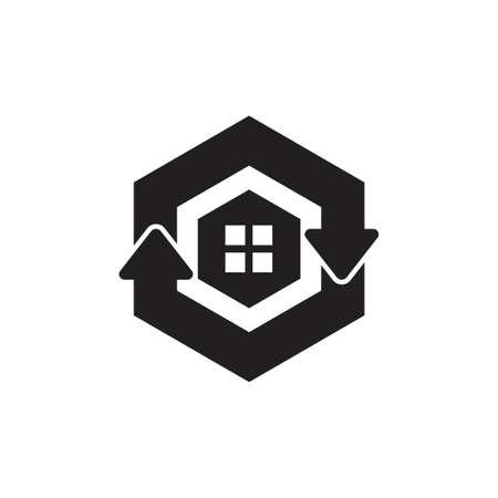 green refresh home hexagonal arrow symbol logo vector Illustration