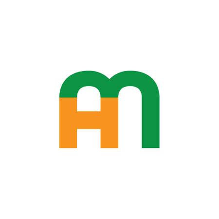 letter hm simple geometric line logo vector