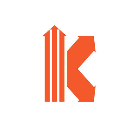 letter k stripes geometric arrow logo vector