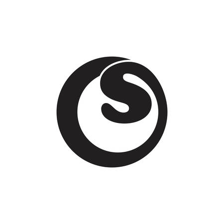 letters os simple circle curves loop logo vector