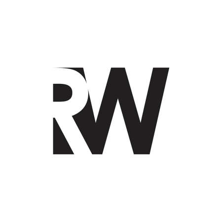 letter rw simple negative space logo vector