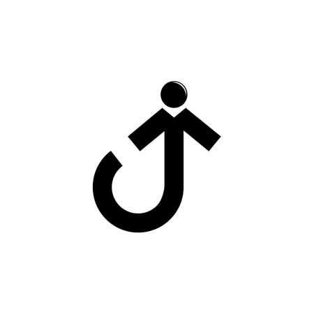 abstract letter j human people arrow up logo vector Illusztráció