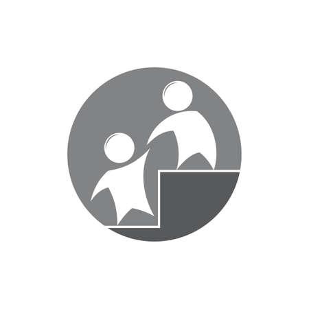 people helping other ladder symbol vector Illustration
