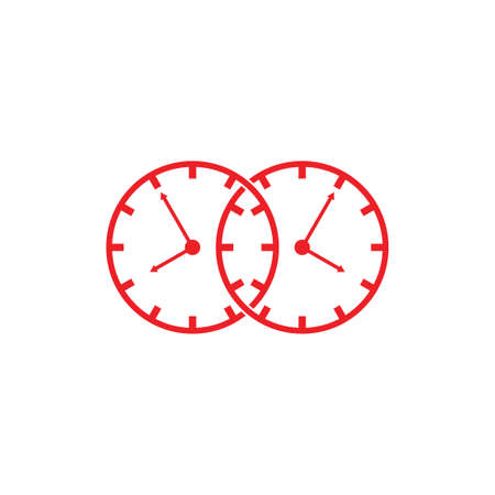 linked watch analog symbol logo vector  イラスト・ベクター素材
