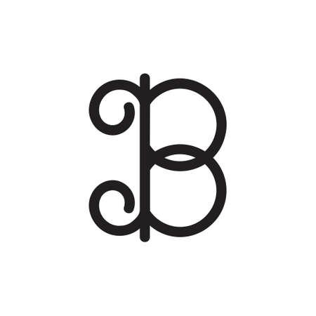 letter b curly design logo vector