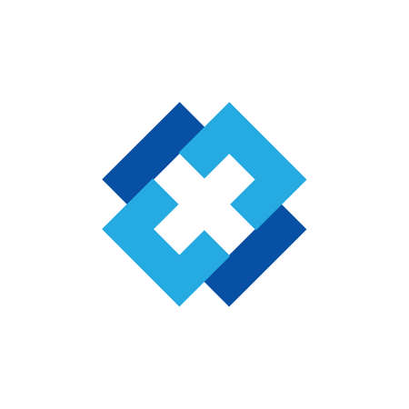linked simple square cross x logo vector