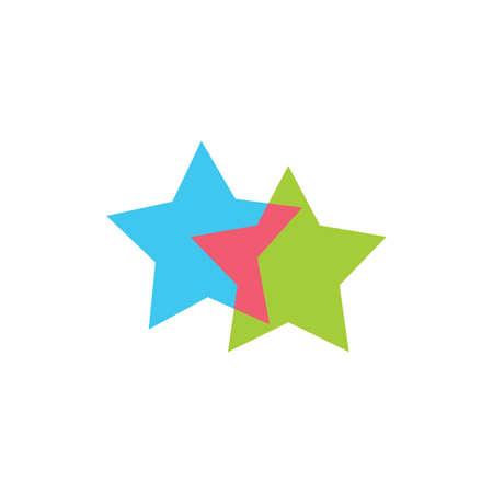 linked geometric two star symbol logo vector Ilustração