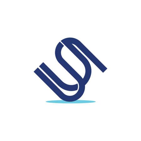letters us simple line geometric logo vector