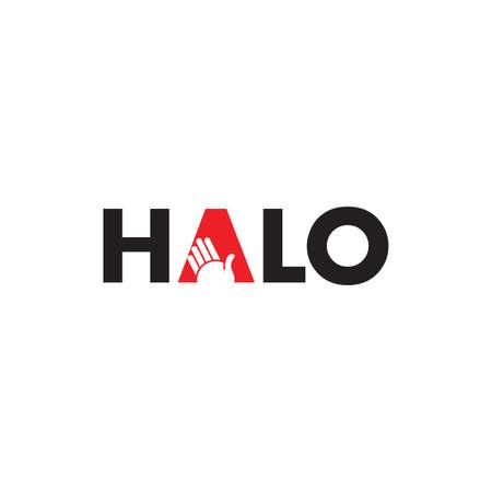 texte halo main symbole logo vecteur