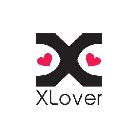 x loves simple logo vector Иллюстрация