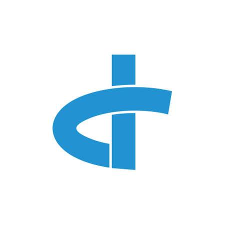 letter d simple geometric ribbon shape logo vector