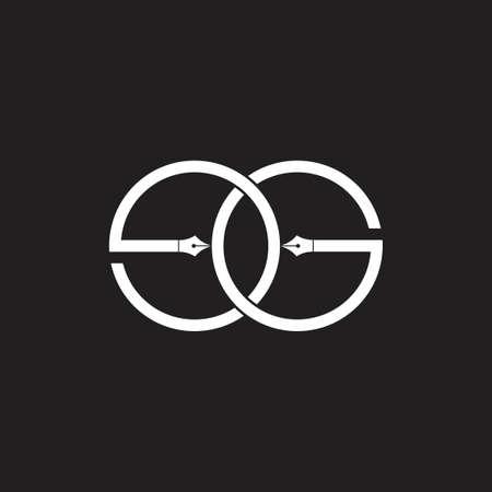 letter eg linked pen education logo vector