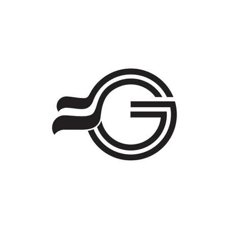 letter g simple ribbon logo vector