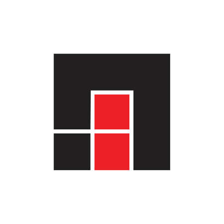 abstract letters ni square geometric logo