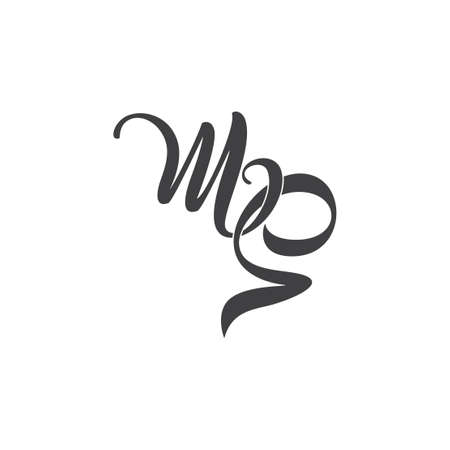 letters ms simple linked ribbon logo vector