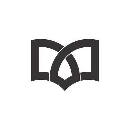 simple geometric book lines art education logo