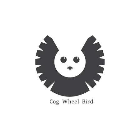 cog machine bird design logo vector  イラスト・ベクター素材