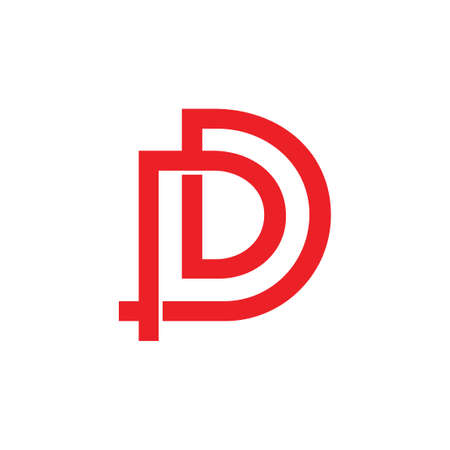 letters pd linked overlapping logo vector