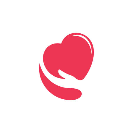 love heart hand care simple symbol vector Illustration