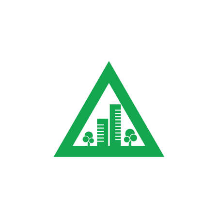 green triangle city simple geometric logo vector Illustration