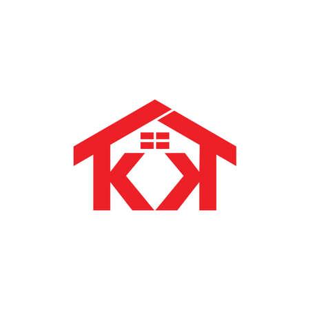 letters kk house windows design logo vector