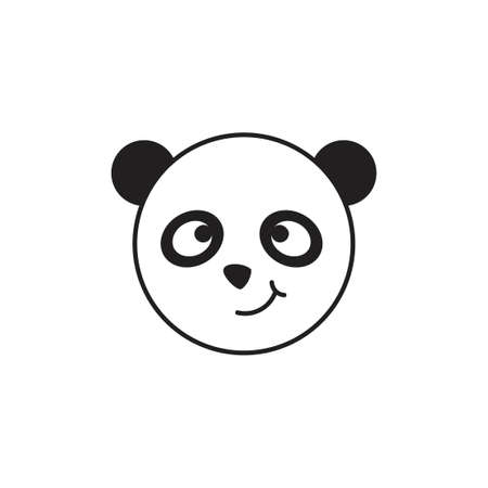 smile panda face simple decoration vector Illustration
