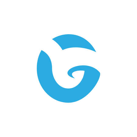 letter g simple geometric blue waves logo vector