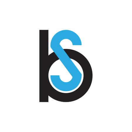 letters bs simple geometric logo vector