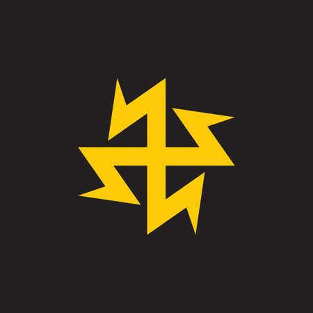 thunder bolt energy circle geometric line logo vector