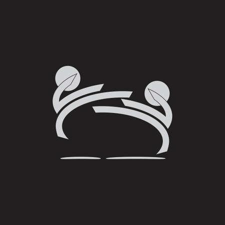 jump kick battle human martial art symbol monogram vector