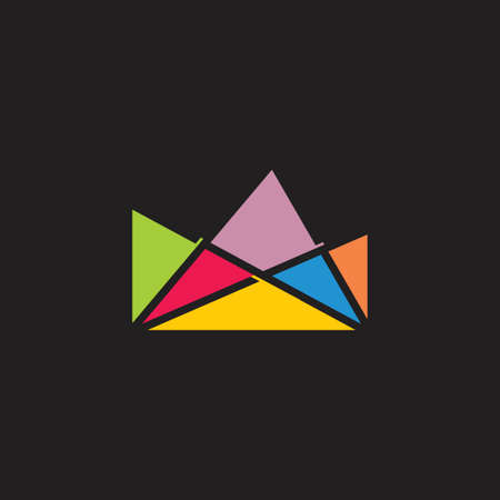simple geometric triangles art logo vector