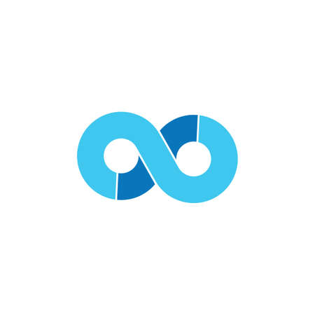 abstract loop infinity line blue wave logo vector