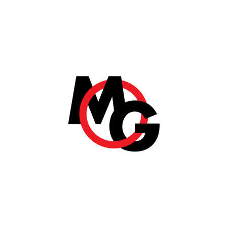 letters mg simple overlapping circle logo vector Illustration
