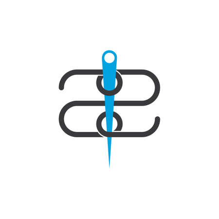 number 2 linked thread needle symbol logo vector