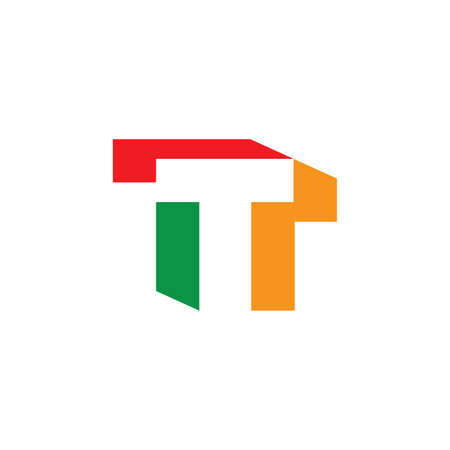 letter t colorful geometric logo vector