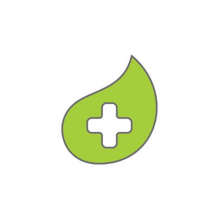 plus medical leaf shape simple logo vector