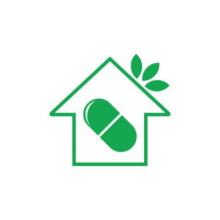 home herbs leaf medicine capsule design symbol vector Illustration