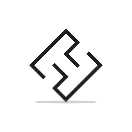 letter ht geometric line logo vector