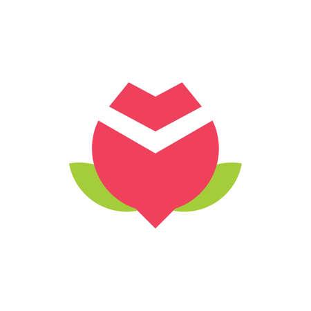 red rose simple geometric logo vector
