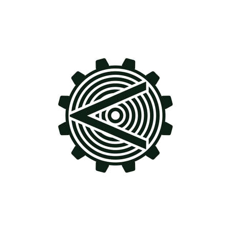 arrow cog machine industrial logo vector