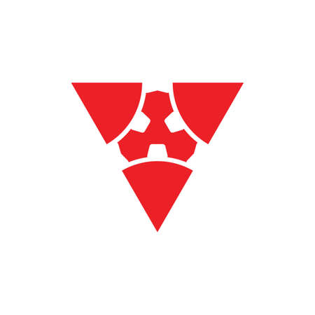triangle cog wheel shape logo vector  イラスト・ベクター素材